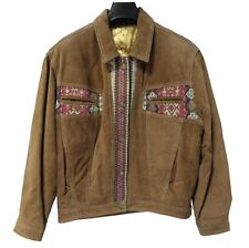Veste en cuir marron taille L femme fille manteau leather jacket brown NEUF