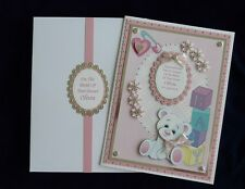 New Baby Card+Box Blue or Pink Available Personalised