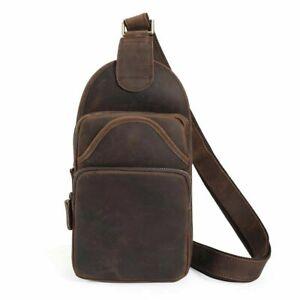 Men Real Leather Sling Backpack Chest Bag Crossbody Shoulder Bag Hiking Satchel