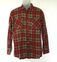 Vintage Haband Old School Plaid Flannel Shirt Rockabilly Size M Red Made in USA