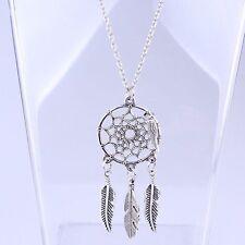 Women Feather Dreamcatcher Choker Bib Statement Pendant Necklace Chain Jewellery