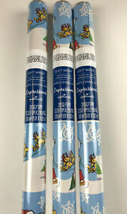 3 New SANTA Snoopy WOODSTOCK Reindeer w/Sleigh CHRISTMAS 20sq ft WRAPPING Paper