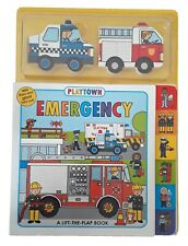 Playtown Emergency 3 Fun Board Books Lift the Flap + 2 Mini Bks Kids Toddler New