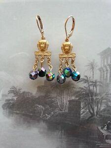 Egyptian Revival sphinx EARRINGS carnival glass oil-on-water iris scarab 14K