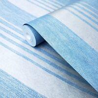 Embossed Striped Non-woven Wallpaper blue silver modern lines Metallic stripes
