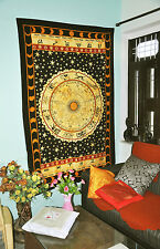 Black and Yellow Zodiac Horoscope Tapestry Indian Astrology Hippie Wall Hanging