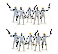 10 Star Wars Clone Republic Trooper Gun Ship Pilot Removable Helmet Figure UK