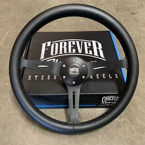 "15"" Matte Black Steering Wheel Leather Wrapped (380mm) - 6 Hole JDM"