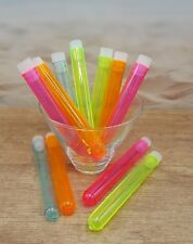 """Pack of 25 Assorted Color 5"""" Plastic Test Tube Shot Glass with caps"""