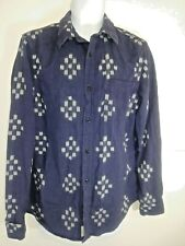 Ralph Lauren Denim and Supply Mens Button Down Shirt Size Large Geometric Blue
