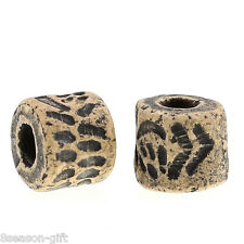 50PCs Spacer Beads Ceramic/Porcelain Pattern Carved Cylindrical Grey 10x9mm
