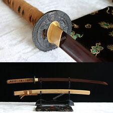 Fully Hand forged damascus red folded steel japnaese samurai katana real sword.