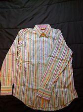 """Robert Graham Dress Shirt Button Down 16.5"""" Collar / 34"""" Sleeve Floral Stripes"""
