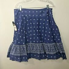 American Living Bandana Print Ruffle Skirt Womens 12 Blue White Side Zip NWT