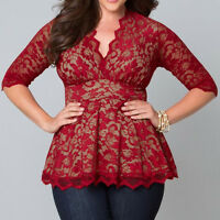 Fashion Women Ladies Long Sleeve Shirt Embroidery Lace Chiffon Casual Blouse Top