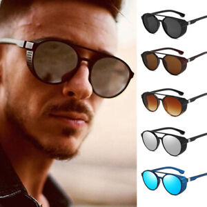 Steampunk Side Mesh Round Circle Retro Vintage Punk Men Sunglasses Goggle UV400