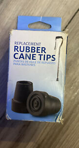 """Medline Mobility - Rubber Cane Tip Replacements 3/4"""" Black Set of 2 - FREE Ship!"""