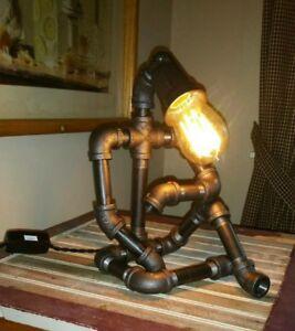 Robot Lamp Black Pipe Light Steampunk  Desk Lamp Dorm Room Lamp Built in USA!