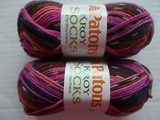 Patons Kroy Socks  yarn, Mulberry Stripes, lot of 2 (166 yds ea)