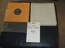25/3mil outer 78rpm  NEW record sleeves.