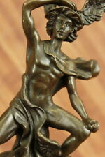 Signed BRONZE STATUE OF FLYING MERCURY SCULPTURE MARBLE FIGURINE BOOKENDDB