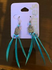 Claire's Claires Accessories Official Earrings Blue Line Feather £4.50 RRP