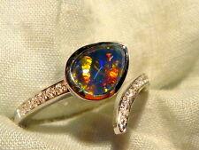 Opal Ring Ladies Sterling Silver 925 & CZ, 9x6mm Teardrop Triplet. item 100923.