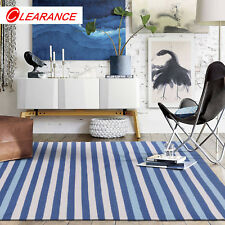Blue Ivory Cotton Floor Rug Handwoven Reversible Stripe Lounges Carpet 155x225cm