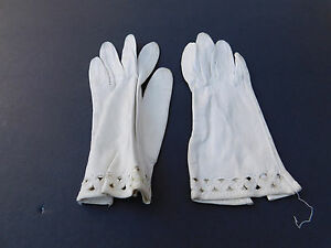 **DESIGNER LADIES WHITE SOFT LEATHER GLOVES UNLINED SIZE  6