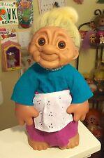 Dam Denmark BIG 13 Inch Grandma Troll. All Original With Sheep Fur Hair.