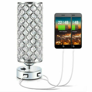 Modern USB Crystal Table Lamp Decorative Lamp with Dual Fast USB Charging Ports
