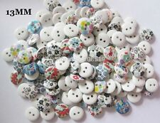50 Wooden Buttons Mixed Flowers Shabby Chic Craft Scrapbook Sew Card making