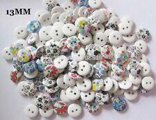 50 Botones Madera mezclado Flores Shabby Chic Artesanía Scrapbook Coser elaboración de tarjetas