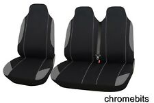 VW TRANSPORTER T5 2+1 GREY BLACK SINGLE+DOUBLE SOFT FABRIC SEAT COVERS
