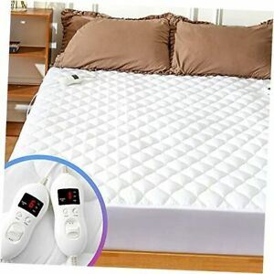 Heated Mattress Pad Size Adjustable Zone Heating with 8 California King White