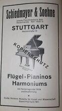 Schiedmayer Stuttgart Klavier Flügel Piano Werbeanzeige von 1925 Reklame
