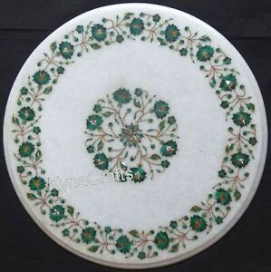 Round Marble Coffee Table Top Green Stone Inlaid Work Bed Side Table 18 Inches