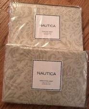 Nautica Pink Sands Damask 2-PC Twin Flat and Fitted Sheets 100% Cotton NEW