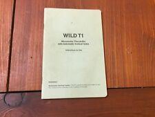 WILD HEERBRUGG T1 MICROMETER THEODOLITE INSTRUCTIONS FOR USE SURVEYOR