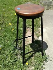 Antique Tall Black Metal Bar Stool with Round Wooden Seat w/ Foot Rest 1920s 1B