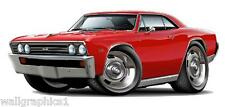 1967 Chevelle SS 396 L-78 Cartoon Car Wall Graphic Decal Man Cave Decor Vinyl