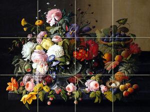 Two Art Still Life Roses Fruit Ceramic Murals Backsplash Tile ##1804, 1806