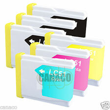 6 Pack LC51 NON-OEM Ink Cartridge for Brother Printer MFC-3360C MFC-240C LC51
