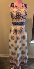 Altar'd State Maxi Dress SMALL Blue, Pink, White Sleeveless Halter Tie Neck