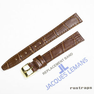 Original Jacques Lemans 14mm brown leather watch band for 1-1445D model
