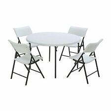 """Combo-One 48"""" Round Foldable Commercial Table 4 Folding Chairs White AB467214"""