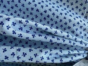 """New! Vintage Blue Shamrock Cotton Fabric - 45"""" x 10 1/3 Yards"""
