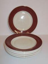 5 x Grindley White Granite Vitrified Side Plates 17.3cm Deep Red Edge Lovely