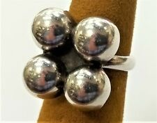 Vintage Cool Sterling Silver Ball Flower Ring Mexico T8-78