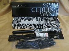 New NuMe 25mm Zebra Curling Wand Tourmaline Curler Styling Iron with Glove
